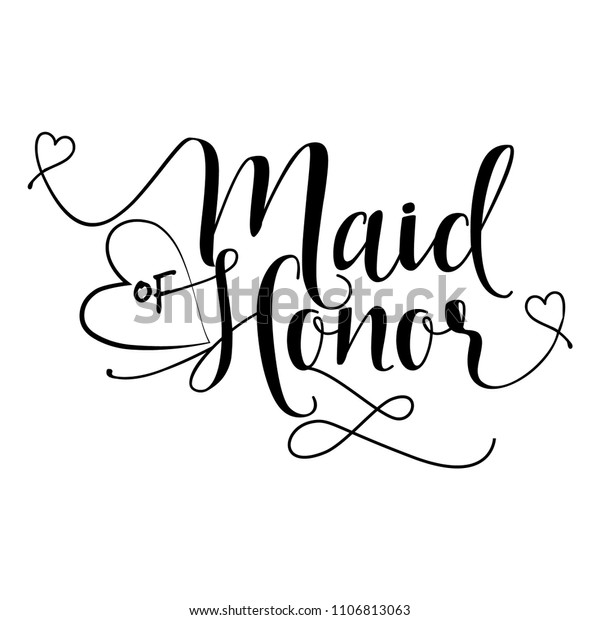 стоковая векторная графика Maid Honor Hand Lettering
