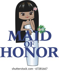 Maid of Honor with Long Black Hair, Mocha Skin, Asian Features