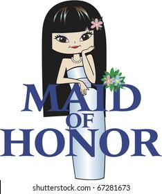 Maid of Honor with Long Black Hair, Asian Features