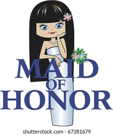 Maid of Honor with Long Black Hair, Caucasian