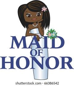 Maid of Honor Med Black Hair Dark Skin Tone