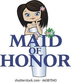 Maid of Honor Med Black Hair Blue Eyes
