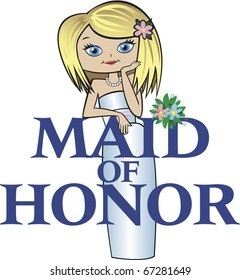 Maid of Honor with Med Blonde Hair, Caucasian