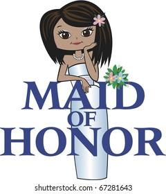 Maid of Honor with Med Brunette Hair, Mocha Skin