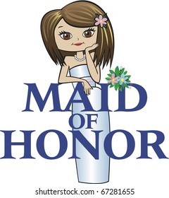 Maid of Honor with Med Brunette Hair, Caucasian