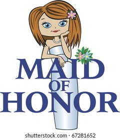 Maid of Honor with Med Red Hair, Caucasian