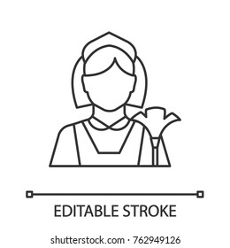 Maid linear icon. Cleaner. Housekeeping. Thin line illustration. Contour symbol. Vector isolated outline drawing. Editable stroke