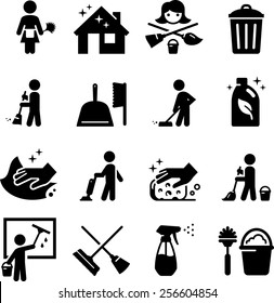 Maid services, janitorial and cleaning icons