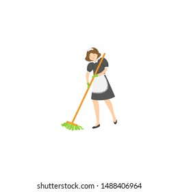 Maid sweeping a floor. Raster illustration isolated on white background