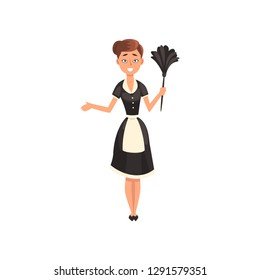 Maid wearing uniform with duster, housemaid character wearing classic uniform with black dress and white apron, cleaning service vector Illustration