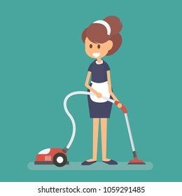 Maid wearing uniform with vacuum, cleaning service of hotel