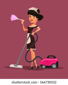 Maid woman character vacuuming. Vector flat cartoon illustration