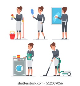 Maid at work. Vector llustration. People infographic elements.