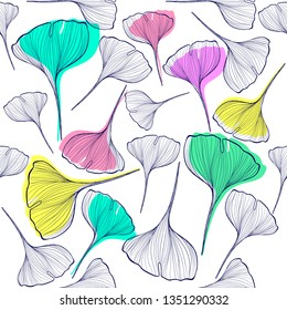 Maidenhair leaves tree seamless pattern, Ginkgo fabric background, natural wallpaper. Vector illustration.