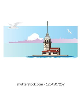 Maiden's Tower of Istanbul, Turkey. Vector illustration.