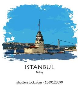 MAIDEN'S TOWER, KIZ KULESI, ISTANBUL, TURKEY: Panoramic view to Maiden's Tower. Hand drawn sketch. Poster, calendar, post card