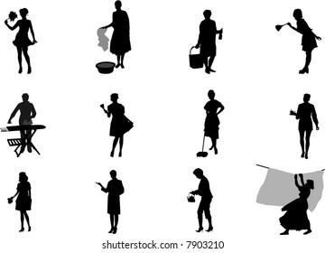 maids and housewives silhouettes