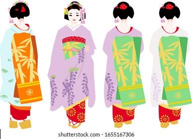 京都の着物姿の舞妓