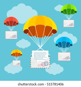 Mail or Airmail Delivery Parachute in Sky. Concept Of Fast Correspondence Vector illustration
