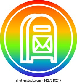 mail box circular icon with rainbow gradient finish