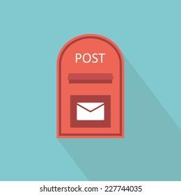 Mail box icon. Flat design. Vector illustration
