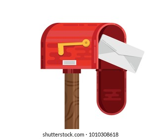 Mail box icon with mail. flat mailbox icon. Post box.envelope vector.postbox. delivery