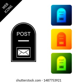 Mail box icon. Post box icon isolated on white background. Set icons colorful square buttons. Vector Illustration