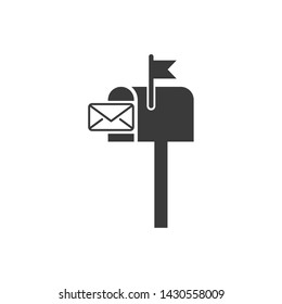 Mail box icon template black color editable. Mail box symbol Flat vector sign isolated on white background. Simple logo vector illustration for graphic and web design.