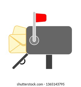 mail box - mailbox with yellow envelopes. Vector illustration