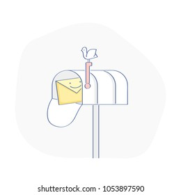 Mail box. Open mail box with new email, inbox mail with happy cute fun letter, envelope. Flat outline vector illustration concept.