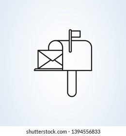 mail box symbol flat style. Line art Vector illustration icon isolated on white background.