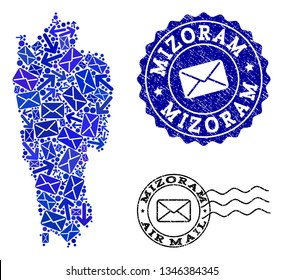 Mail collage of blue mosaic map of Mizoram State and rubber stamp seals. Vector seals with unclean rubber texture with Airmail text and envelope symbols.