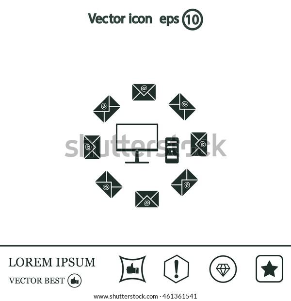 mail computer, vector illustration
