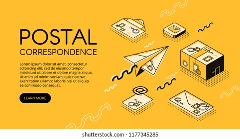 Mail and correspondence concept vector illustration. Post office with letter envelopes, postage stamps or e-mail logistics technology in isometric black thin line design on yellow halftone background