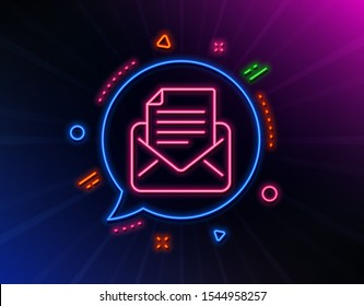 Mail correspondence line icon. Neon laser lights. Read Message sign. E-mail symbol. Glow laser speech bubble. Neon lights chat bubble. Banner badge with mail correspondence icon. Vector