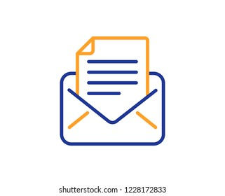 Mail correspondence line icon. Read Message sign. E-mail symbol. Colorful outline concept. Blue and orange thin line color icon. Mail correspondence Vector