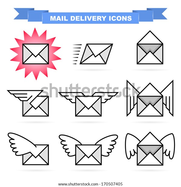 Mail delivery icon set. Nice mail envelopes with cute wings.