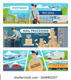 Mail delivery, post office and postal transportation services vector design. Postmen with parcel boxes, letters, packages and envelopes, trucks, bicycle and planes, train, ship and stockroom conveyor