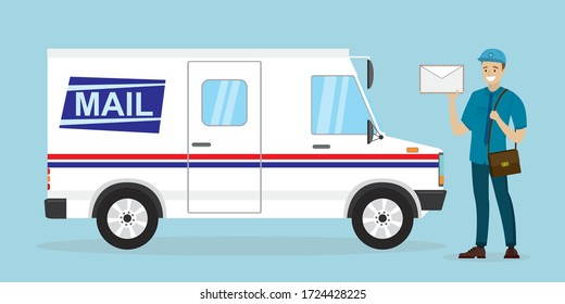 Mail delivery truck. Happy postman in uniform. Caucasian mailman hold letter. Courier with mailbag, delivery and post service. White postal van. Cartoon male character and vehicle. Vector illustration