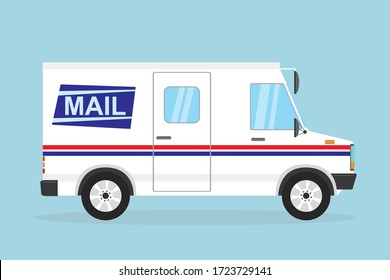 Mail delivery truck. White postal van. Cartoon vehicle in flat style. Delivery service transport. Vector illustration