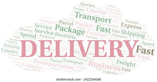 Mail Delivery word cloud. Wordcloud made with text only.