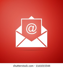 Mail and e-mail icon isolated on red background. Envelope symbol e-mail. Email message sign. Flat design. Vector Illustration