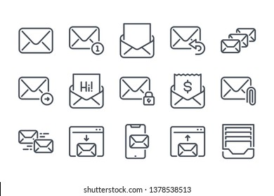 Mail and Email related line icon set. Envelope and letter linear icons. Newsletter outline vector sign collection.