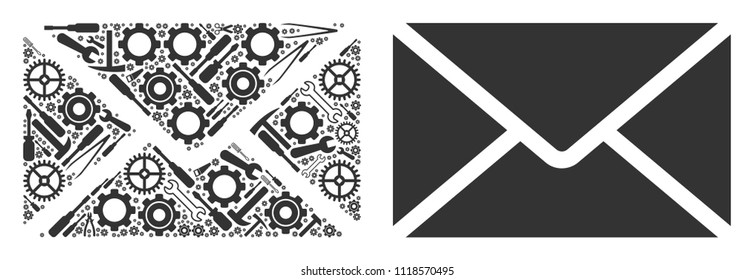 Mail envelope collage of workshop tools. Vector mail envelope icon is composed of gears, screwdrivers and other mechanical items. Concept for maintenance workshop.