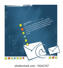 Mail - envelope icons on artistic background, blank text template, vector