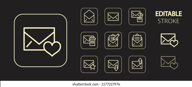 Mail, envelope, post letter, message, email. Golden icon set. Simple outline web application icons. Editable stroke. Vector illustration.