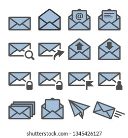 mail envelope signs icons set