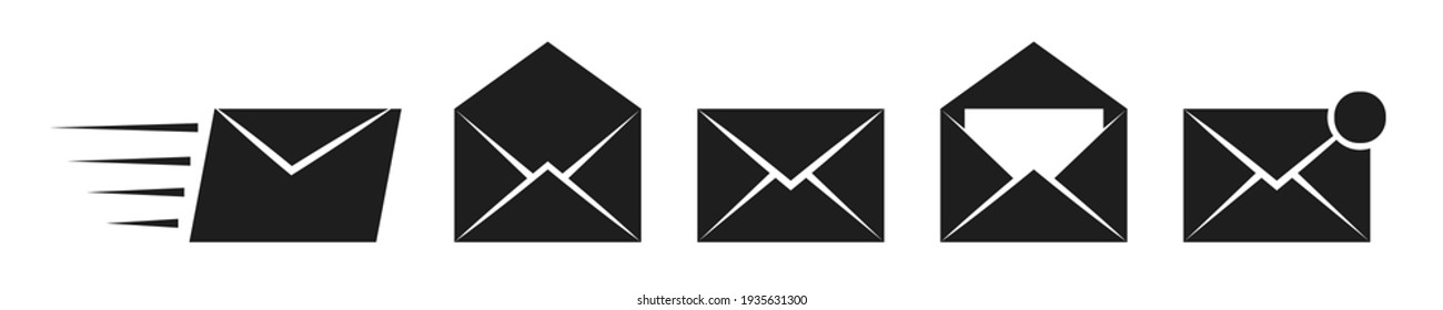 Mail envelope vector icons. Closed, open with a letter email envelope. Set of black sms vector icons in flat style.