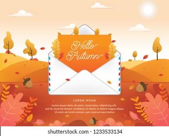 Mail envelope vector illustration. Electronic mail service illustration. Vector of Autumn season with email. Hello autumn, Autumn season - vector illustration