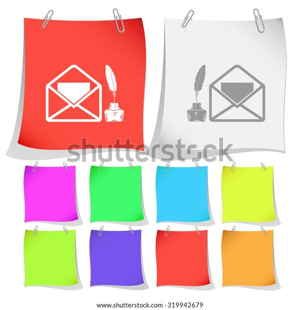 mail with feather and inkstandn . Vector note papers.